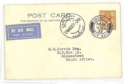 BK95 1932 GB AVIATION FIRST DAY 5d*Reduced Rate* Airmail FIELD Card S.Africa PTS