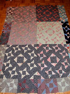 """Antique Vintage Milky Way pattern Quilt Top  64"""" x 82"""" early fabrics, Nice!"""