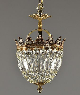 Italian Brass & Crystal Crown Chandelier c1950 Vintage Antique French Style