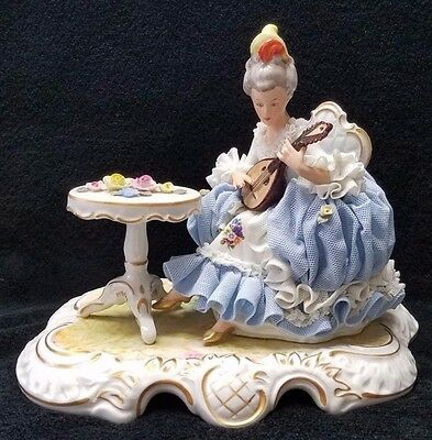 Dresden Lace Seated Woman Playing Mandolin Guitar with Table Figurine