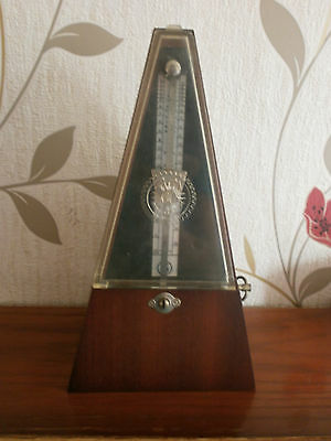 Metronome -Vintage Wooden With Plastic front -Works Very Well