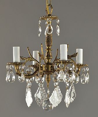 Spanish Brass & Crystal Chandelier c1950 Vintage Antique French Style Ceiling