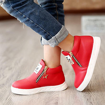 Size 31 Red Children Boys Girls Kid's Casual PU Martin Boots Shoes Zipper Stars