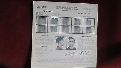 EARLY 1938 FBI WANTED POSTER, BANK ROBBERY, Lionsdale, R.I., Police, Gangster