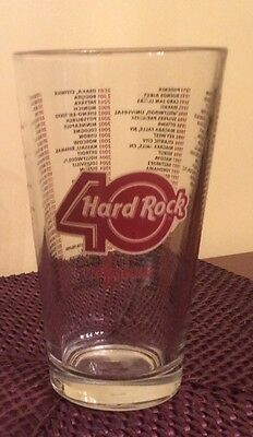 Hard Rock 40 Year Beer Glass 1971-2011 All Cities Printed