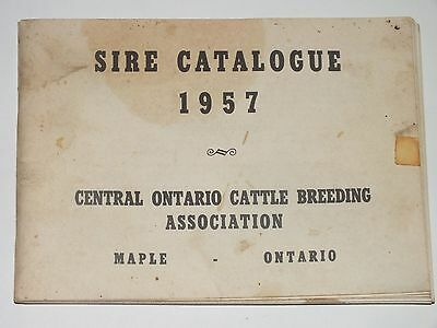 Sire Catalogue 1957 Central Ontario Cattle Breeding Maple Ontario Cow Farm Book