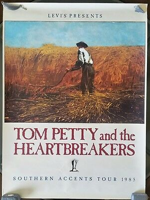 """Vintage Tom Petty and Heartbreakers Southern Accents Tour Promo Poster 30"""" x 22"""""""