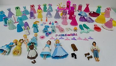 Polly Pocket Princess Cinderella Belle Clothing Gown Shoes Mrs Potts Lumiere Lot