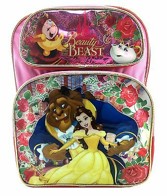 """Disney Beauty and the Beast 16"""" Large School Backpack Book Bag"""