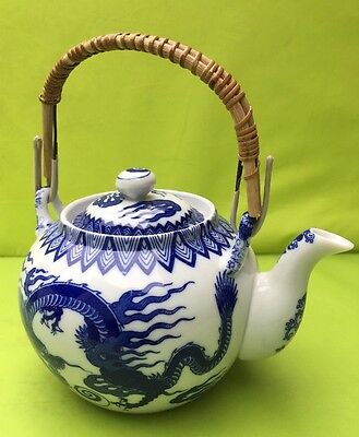 Chinese Porcelain Tea Pot Dragon . Blue And White Vintage Unmarked