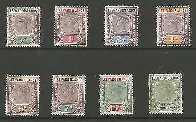 Leeward Is Sg1-8 The 1890 Victorian Set Of 8 Mounted Mint Cat £190