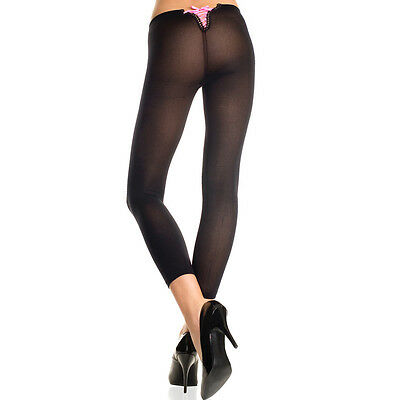 One Size Regular Black Opaque Footless Leggings w/ Lace Up Back ML35741