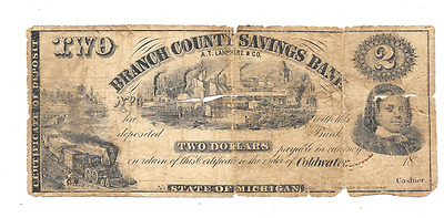 Rare Early 1800's Banch County Saving's Bank Coldwater Michigan Obsolete