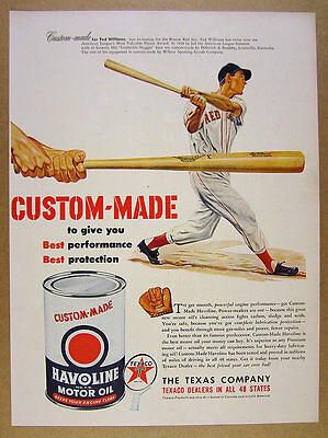 1950 Ted Williams Louisville Slugger Bat art Texaco Havoline vintage print Ad