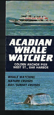 Acadian Whale Watcher Bar Harbor Maine brochure