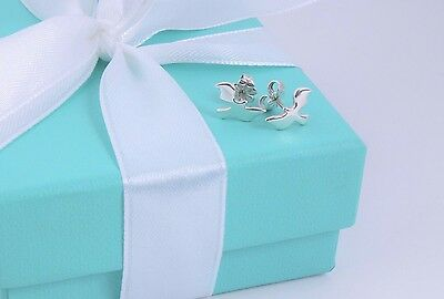 RARE Tiffany & Co. Silver Paloma Picasso Dove Stud Earrings w/ Packaging