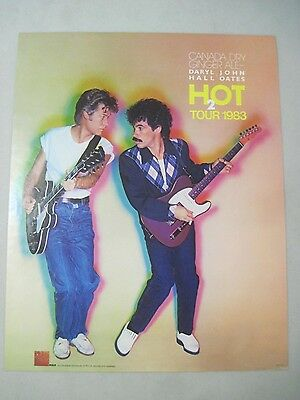 Daryl Hall & John Oates H2O Hot Tour 1983 Promo Poster Rca Records Canada Dry