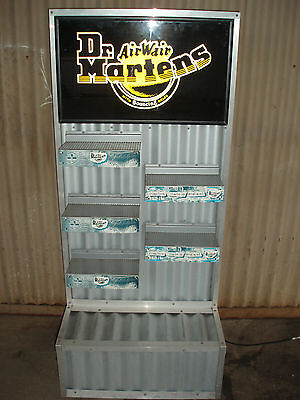 DISPLAY STAND Dr MARTENS SLATWALL SHELVES CORRUGATED IRON WITH LIGHTBOX SIGN