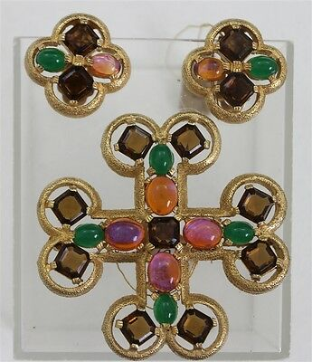 Vintage BOUCHER Jewelled Maltese Cross Brooch Earrings Rhinestones Cabochon Set