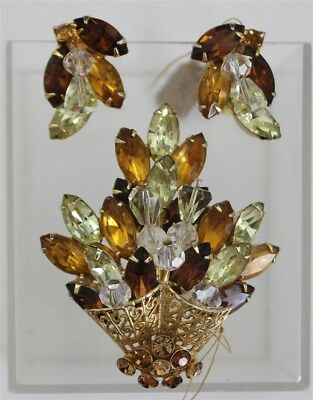 Vintage HOBE 1950's FLOWER BASKET Amber Brooch & Earrings Rhinestones Beads Set