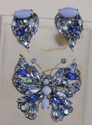 Vintage REGENCY Ice Baby Blue BUTTERFLY Brooch & Earrings Rhinestones Glass Set