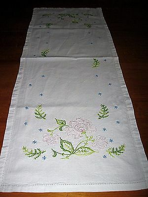 Vintage Pink Roses Hand Embroidered Cotton Table Runner Dresser Scarf 13 X 36