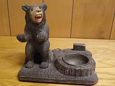 Vintage Antique Carved Wooden Black Forest Bear w/ Brass Ashtray