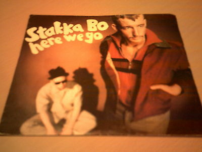 Here We Go/Happy Man (7 in. Single) Vinyl Record by Stakka Bo, 1993, EX