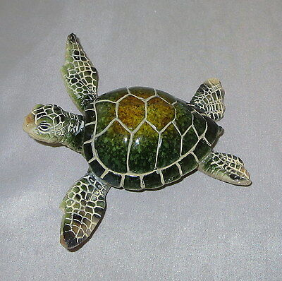 "Sea Turtle Figurine Green Sealife Wild Animal 4 1/8"" Wide New Sold Individually"