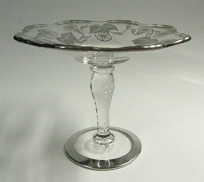 """SCARCE Circa 1940 """"Radiance"""" New Martinsville Glass Mint Stand, Silver Overlay"""