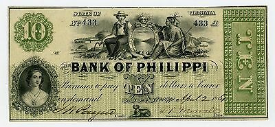 1861 $10 The Bank of Philippi, (WEST) VIRGINIA Note