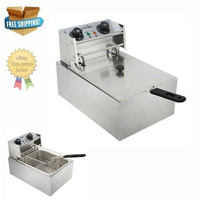 Electric Deep Fryer Commercial Home Single Basket Cooking Chip Power Saving NEW