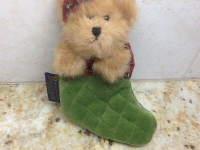 """Boyds Bears Plush Brown Bear Geeen Quilted Fabric 5.5"""" Christmas Stocking Bear"""
