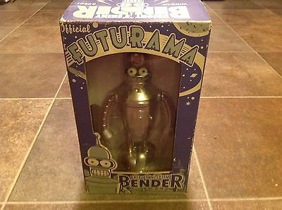 2003 Official FUTURAMA Bright 'N' Shiny Bender Wind-Up Tin Robot Action Toy NIB
