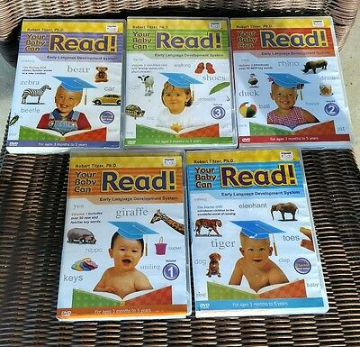 Your Baby Can Read Robert Titzer Early Language Development Set 5 DVDs PreOwned