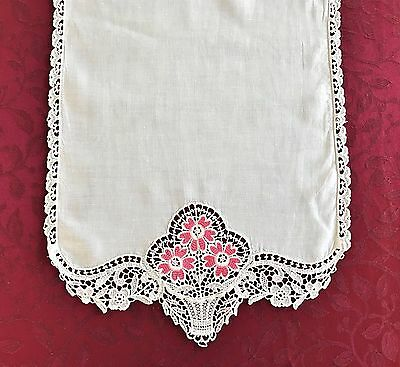 Vintage Table Runner Off White Linen Lace Edging Pink Flowered Embroidery