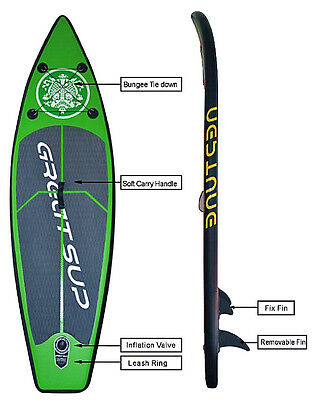 New 2.6M Inflatable Surfboards Stand Up Paddle Board SUP Package with Pump Green