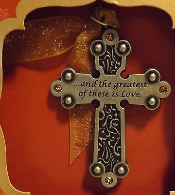 """Gloria Duchin Pewter Ornament """"...and the greatest of these is Love."""""""
