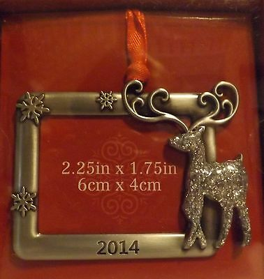 Pewter Photo Ornament Reindeer Dated 2014