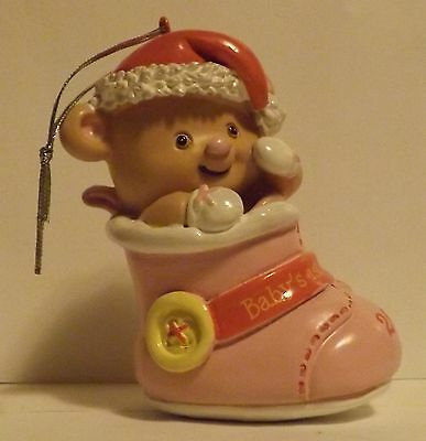 Baby's First Christmas Girl Bootie 2014 Ornament