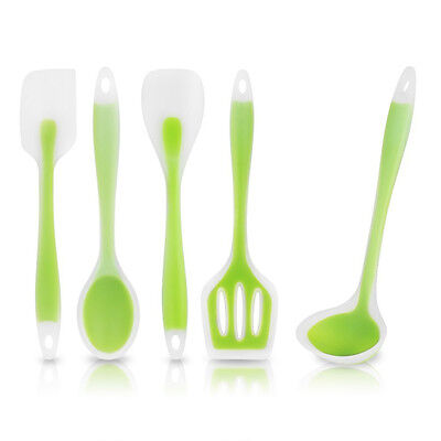 5 Piece Heat-Resistant Cooking Utensil Set Designed w/Premium Non-Stick Silicone