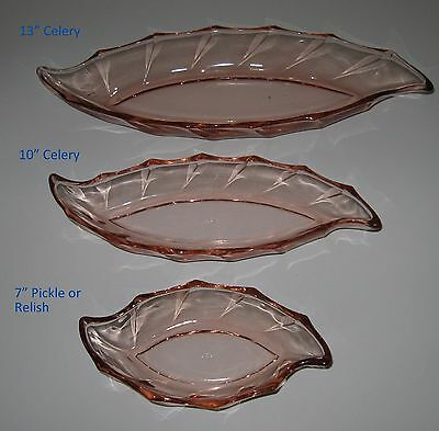 "Set of 3 Heisey #1252 Twist Pink Flamingo 13"" & 10"" Celery and 7"" Pickle Relish"