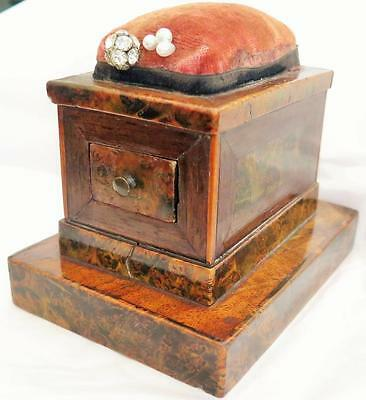 18th Century Federal Exotic Veneered Wood Small Sewing Box w/ Pin Cusion