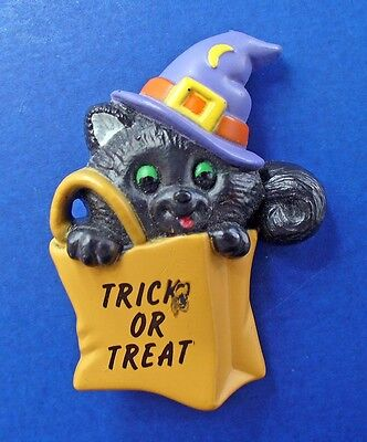 BUY1&GET1@50%~Russ PIN Halloween CAT Black WITCH TRICK or TREAT Vtg Brooch ASis