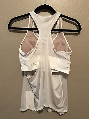 NWT Lululemon Size 10 Pushing Limits Tank Attached Bra WHT White Gold Mesh
