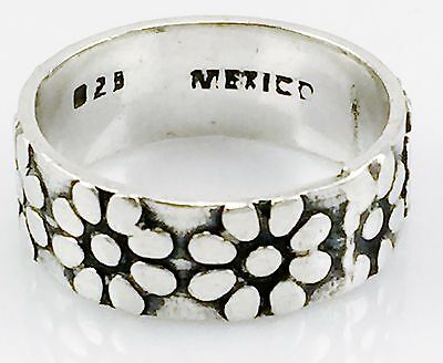 Vintage Sterling Silver 925 Mexican Mexico Wide Flower Band Ring Sz 6 Good Deal