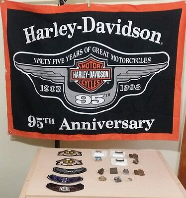 "95th Harley Davidson anniversary flag 39x28"" Harley patches & pins lot of 19"