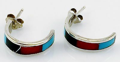 Vintage Sterling Silver Black Onyx Coral Turquoise Half Hoop Earrings 925 Deal