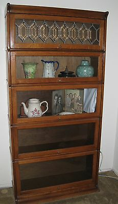 """Arts and Crafts Mission Oak Barrister Bookcase 5 high """"IN ONE PIECE"""","""