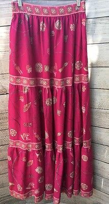 Emilio Pucci Maxi Skirt Vintage 60-70's Pink Wool Signature Size 14 Fits Like 8